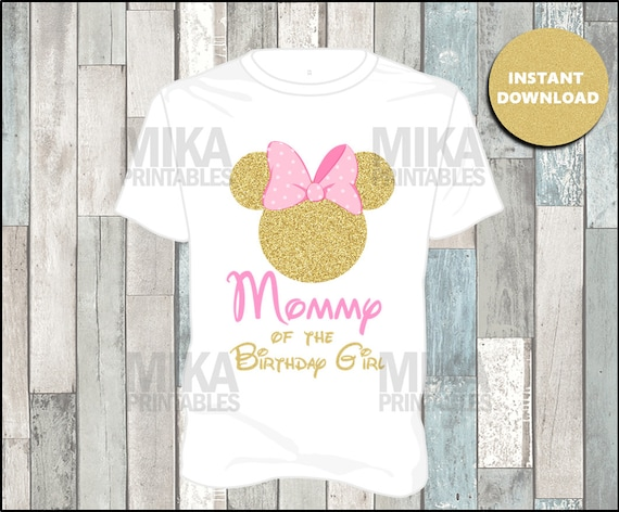 Printable Pink And Gold Glitter Minnie Mouse Mom Of The