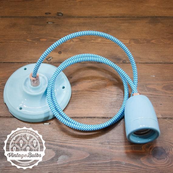 Vintage Ceramic Pendant Lamp Diy Retro Set Baby Blue 4 Etsy
