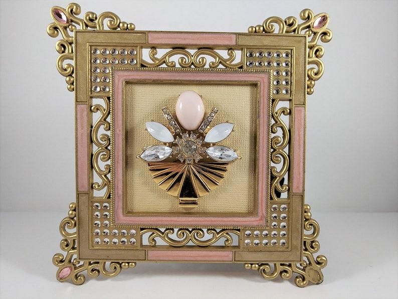 love friendship teacher anniversary gift OOAK rhinestone gold Framed Vintage Jewelry Artwork Picture flower angel Pink Art Deco Floral