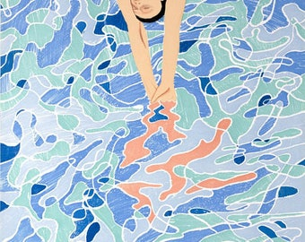 DAVID HOCKNEY - 'The diver' - high quality lithographic reproduction of 1972 Munich Olympics poster - large