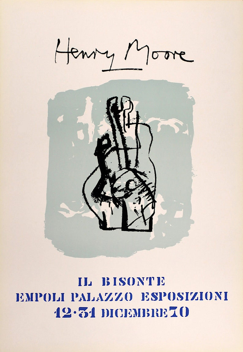 vintage original exhibition poster HENRY MOORE c1970 Limited first edition. Ill Bisonte, Florence
