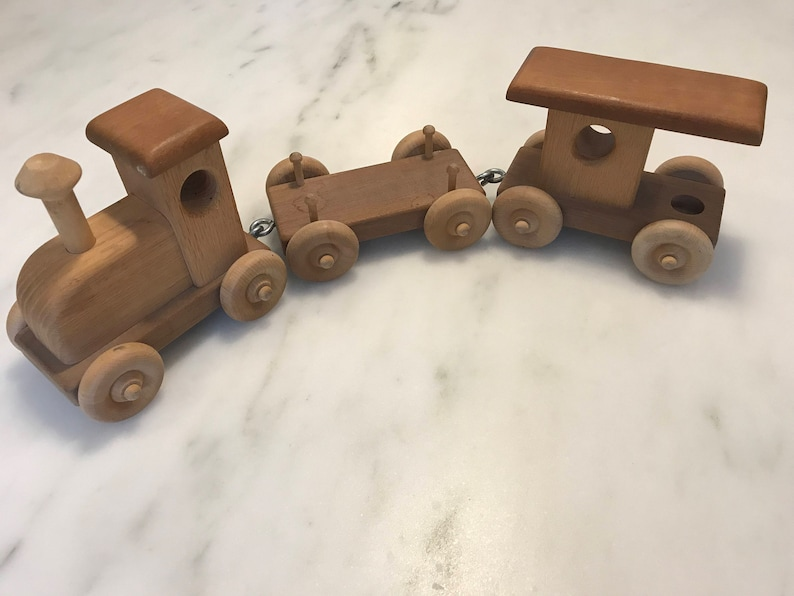 Vintage Handcrafted Wooden Train Set By Michaud Toys Set Of 3 Pieces