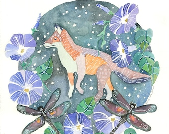 Fox and Dragonflies Watercolor Print Spiritual Magical Symbolic Intuitive Art