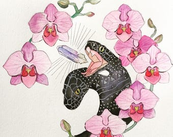 Two-headed Snake and Orchids Watercolor Print