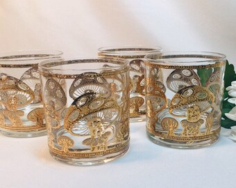 7373cd20a973 Culver Gold Mushroom On the Rocks Cocktail Glasses - set of 4