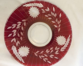 Cranberry Cut to Clear Bohemian Glass Plate