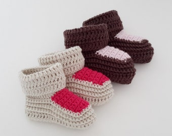 11 - crochet baby booties tutorial pattern - sizes 0/3 months and 6/9 months