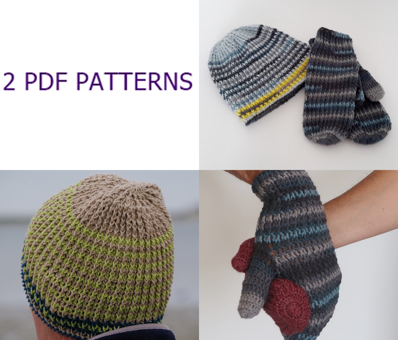 afef5cf7f52 Crochet pattern for wool mittens winter hat tutorial hand