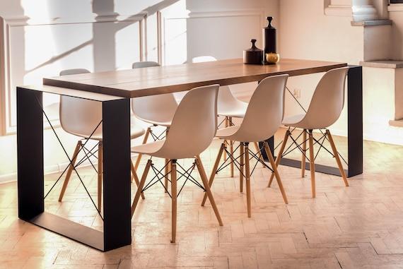 Oak Wood Dining Table On Steel Base Industrial Handmade Etsy
