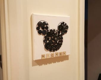 Disney Mickey Mouse - Handmade Button Art Canvas