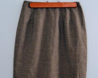 90s vintage skirt /  high waisted skirt / plaid pencil skirt