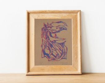 Mari Lwyd Lino block print - various colours