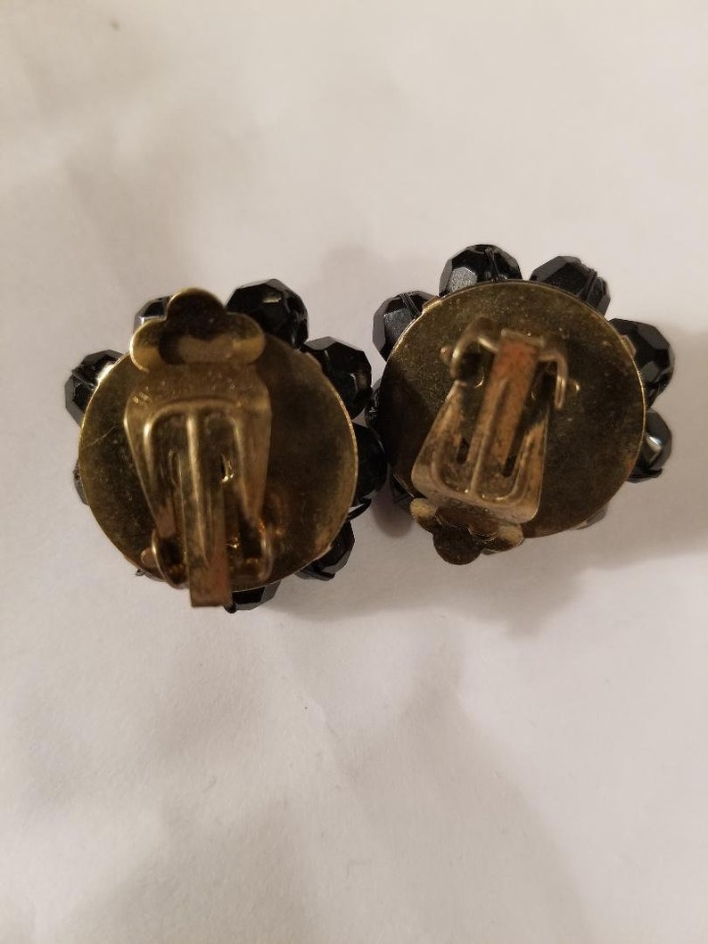 Vintage Black Glass Jet Clip On Earrings from West Germany