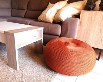 Round pouf with removable and washable polyester lining - Erti small -