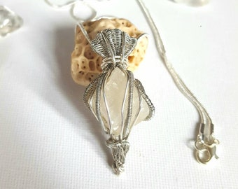 Marble Wire Wrapped Pendant, Rough Stone Pendant, Crystal Pendant, Raw Stone Pendant, Healing Jewellery, Silver Wire Wrapped Pendant