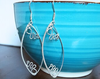 Marquise Wire Wrapped Earrings, Silver Plated Earrings, Wire Earrings, Leaf Shaped Earrings, Gift For Her