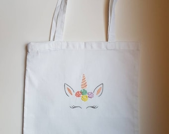 Tote bag / shopping white Unicorn