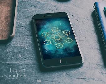 iPhone 6/iPhone 7/iPhone 8/HTC One Custom Metatron's Cube Background/Wallpaper