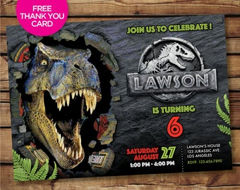 Jurassic World Invite Fallen Kingdom Birthday Invitations Digital Printable Party Personalized Park Card