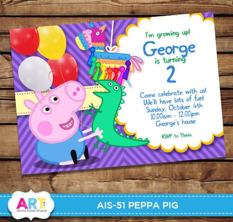 George Pig Invite Peppa Pig Birthday Invitations Digital Printable Party Invites Personalized Printable Card Peppa For Boys Ais 51