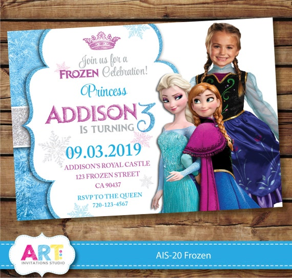 Frozen Invite Birthday Invitations Digital Printable Party Personalized Pink And Blue Photo Card