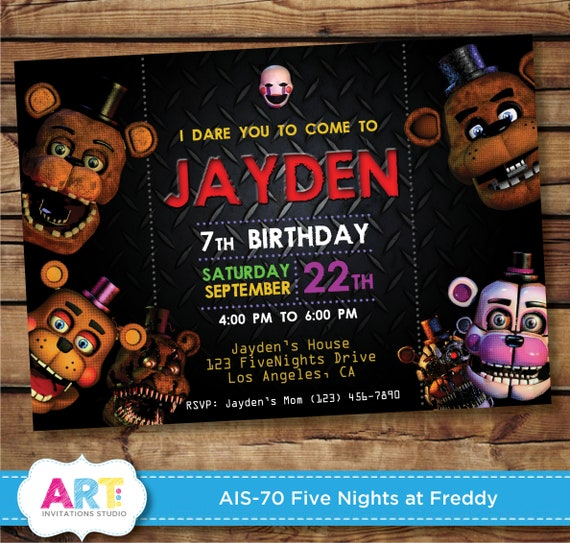 Five Nights At Freddys Invite Birthday