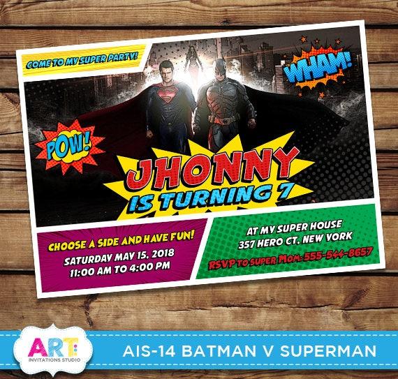 Batman V Superman Invite Superhero Birthday Invitations