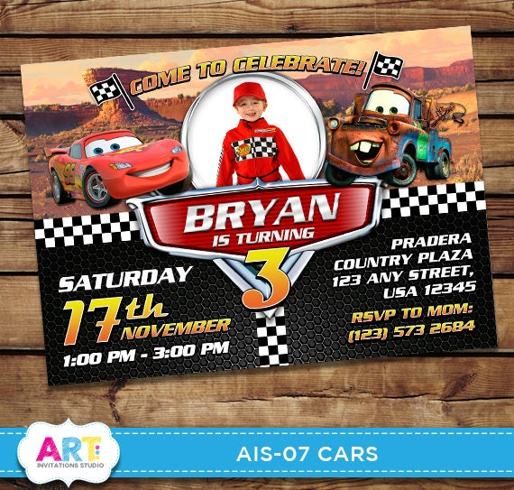 Cars Invite 3 Birthday Invitations Digital Printable
