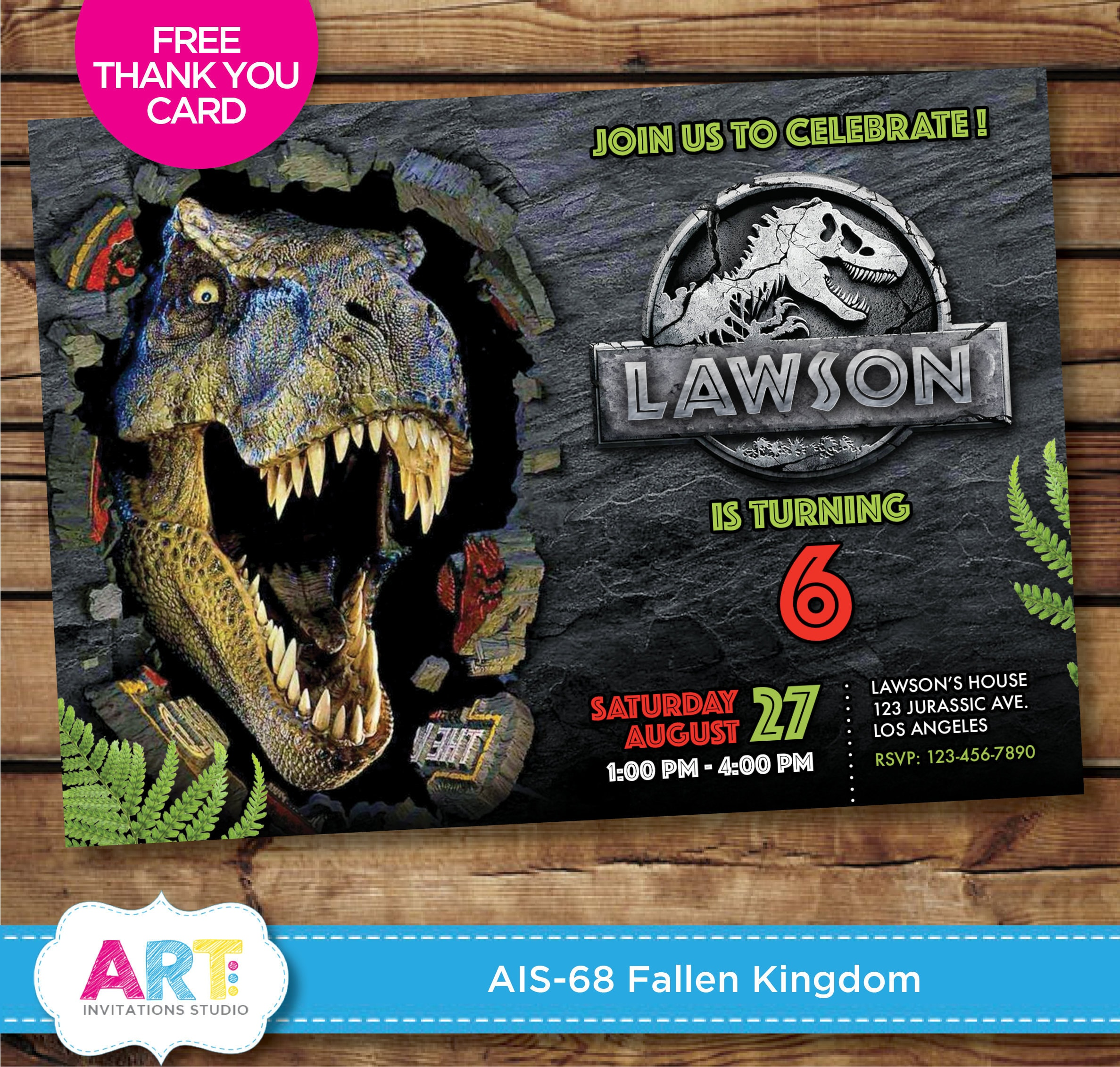 Jurassic World Invite Fallen Kingdom Birthday Invitations