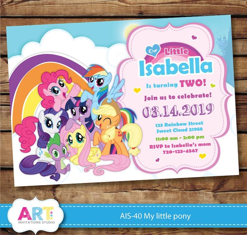 My Little Pony Invite Litte Birthday Invitations