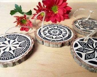 Wood slice ornament | Mandala ornament, handmade ornament, Christmas ornament, holiday gift, stocking stuffer, co-worker gift