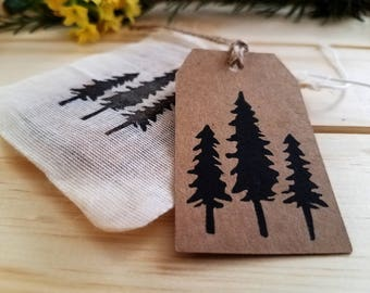 Tree Gift Tags   set of 10, handmade Kraft gift tag, gift wrapping, packaging
