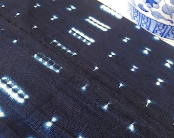 Vintage African Shibori Indigo Mud Cloth - Amazing Textile - Vibrant Shibori Indigo Print - Beautiful Fabric - Throw - Wall Hanging