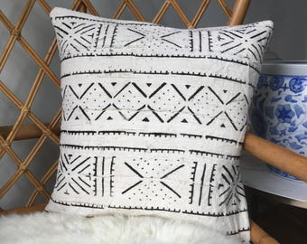 "Amazing Antiqued African Mudcloth Hand Stitched Black & White Pillow Cover - 16"" x 16"" - 18"" x 18"" - 20"" x 20"" - 25"" x 25"" - also available"