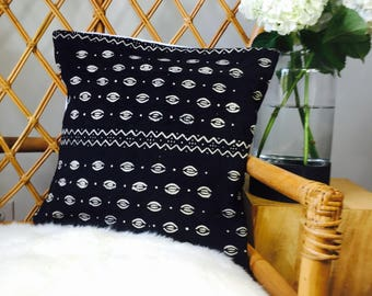 "Amazing Antiqued African Mudcloth Hand Stitched Black & White Pillow Cover - 16"" x 16"" - 20"" x 20"" - 25"" x 25"" - also available"
