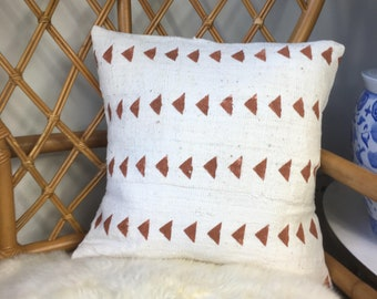 """Tribal Triangle Pattern, African Mudcloth HandMade Copper & White Pillow Cover, 16"""" x 16"""" - 18"""" x 18"""" - 20"""" x 20"""" - 25"""" x 25"""" -"""