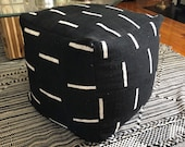 Black and White or Indigo Mudcloth Square Pouf Bean Bag Chair Ottoman - Made from African Mudcloth