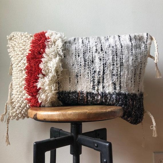 Kilim Rug Cream: Red Black & Cream Azilal Design Vintage Kilim Rug Pillow