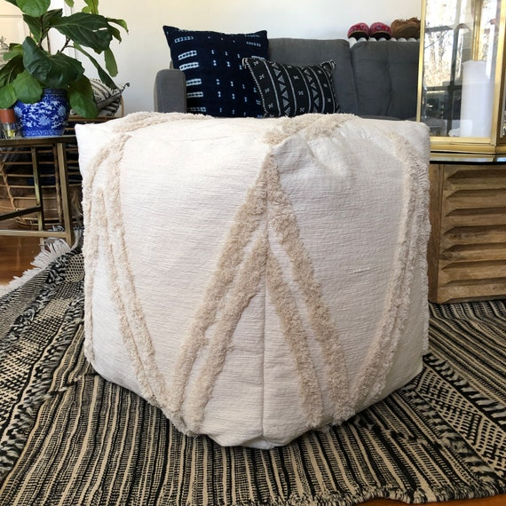 Swell Cream Wedding Blanket Square Pouf Bean Bag Chair Ottoman Bralicious Painted Fabric Chair Ideas Braliciousco