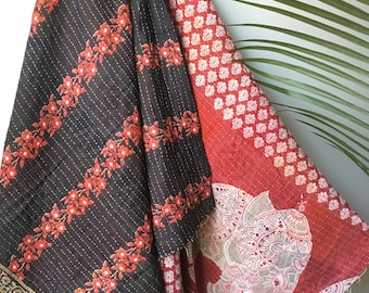 Vintage Red Elephant Indian Light Weight Kantha Quilt - Reversable Two Sided Print - Beautiful Print can be used as a wall hanging throw bea