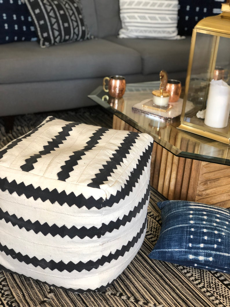 Black and White Striped Mudcloth Square Pouf  Bean Bag Chair  Ottoman