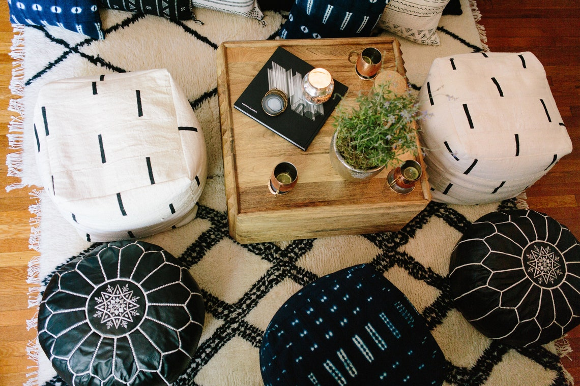 Black and White or Indigo Mudcloth Square Pouf / Bean Bag Chair / Ottoman - Made from African Mudcloth