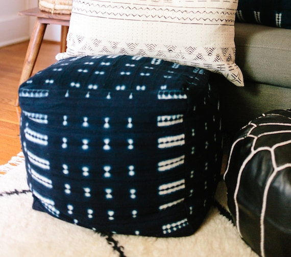 Admirable Indigo Mudcloth Or Black White Square Pouf Bean Bag Chair Ottoman Made From African Mudcloth Bralicious Painted Fabric Chair Ideas Braliciousco