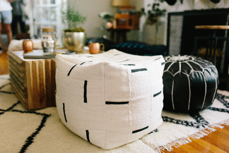 Black And White Or Indigo Mudcloth Square Pouf Bean Bag