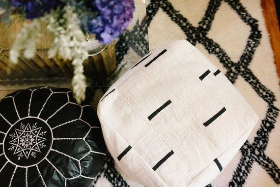 Made from African Mudcloth Black and White or Indigo Mudcloth Square Pouf  Bean Bag Chair  Ottoman