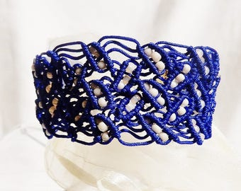 Macrame blue bracelet with white beads