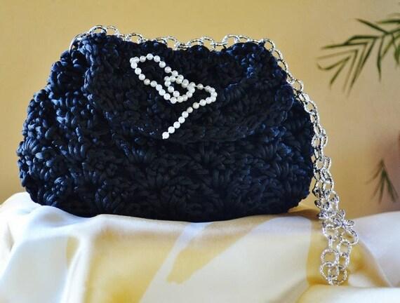 Schwarz Stricken Häkeln Clutch Tasche Mit Silberkette Etsy