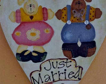 """Just Married"" wooden plaque painted by hand"