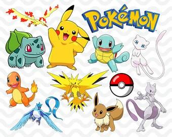 instant dl 160 png pokemon clipart printable digital rh etsy com pokemon clipart images pokemon clipart