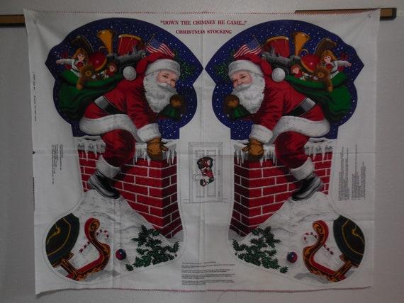 Vintage Cranston The Night Before Christmas Santa Jumbo Christmas Stocking craft panel